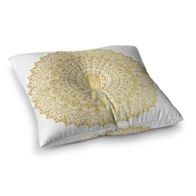Nika Martinez Boheme Dream Mandala Square Floor Pillow Size: 23 x 23, Color: Gold/White