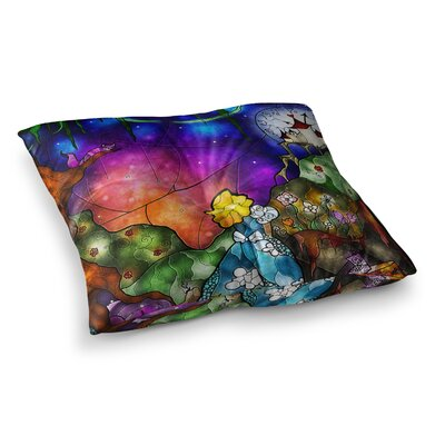 Mandie Manzano Fairy Tale Alice in Wonderland Square Floor Pillow Size: 26 x 26