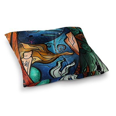 Mandie Manzano Fathoms Below Mermaid Square Floor Pillow Size: 26 x 26