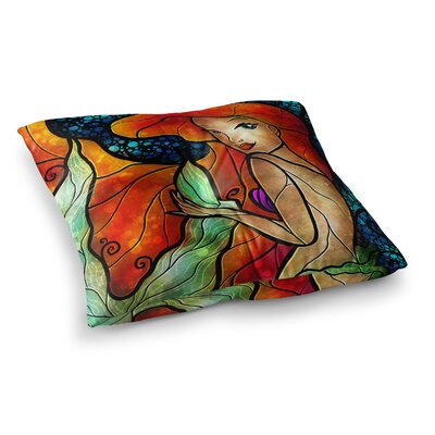 Mandie Manzano Ariel Mermaid Square Floor Pillow Size: 26 x 26