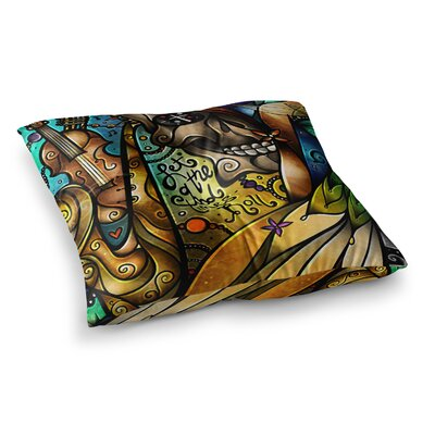 Mandie Manzano Good Times Roll Skull Square Floor Pillow Size: 26 x 26