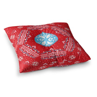 Miranda Mol Snowjoy Square Floor Pillow Size: 26 x 26, Color: Red/Blue