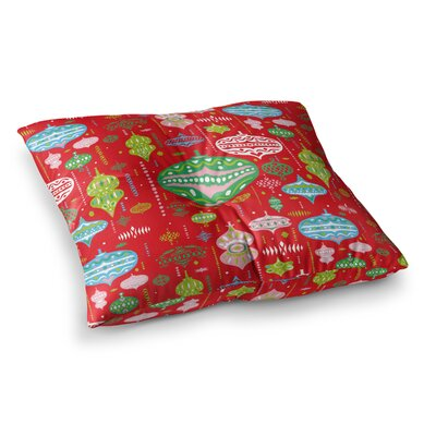 Miranda Mol Ornate Ornaments Square Floor Pillow Size: 26 x 26, Color: Red
