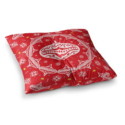 Miranda Mol Deco Wreath Square Floor Pillow Size: 26 x 26, Color: Red