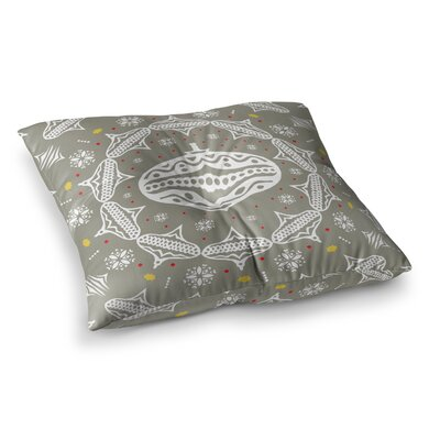 Miranda Mol Deco Wreath Square Floor Pillow Size: 23 x 23, Color: Gray