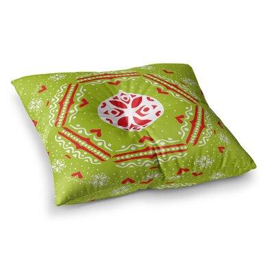 Miranda Mol Snowjoy Square Floor Pillow Size: 26 x 26, Color: Green/Red