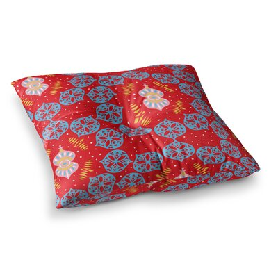 Miranda Mol Frosted Holiday Square Floor Pillow Size: 26 x 26, Color: Red/Blue