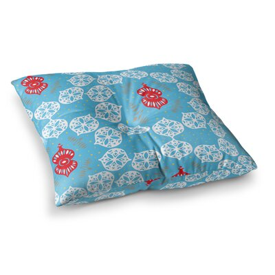 Miranda Mol Frosted Holiday Square Floor Pillow Size: 26 x 26, Color: Blue/White