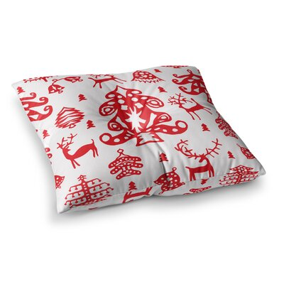 Miranda Mol Frosted Landscape Holiday Square Floor Pillow Size: 26 x 26
