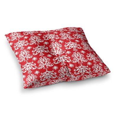 Miranda Mol Ornate Trees Holiday Square Floor Pillow Size: 26 x 26, Color: Red/White