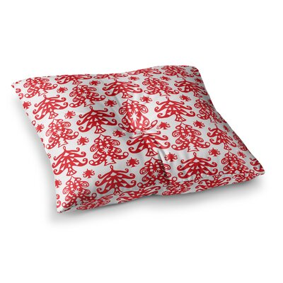 Miranda Mol Ornate Trees Holiday Square Floor Pillow Size: 26 x 26, Color: White/Red