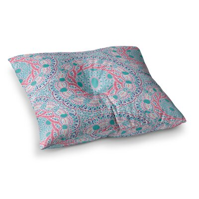 Miranda Mol Prismatic Abstract Square Floor Pillow Size: 23 x 23, Color: White/Blue/Pink