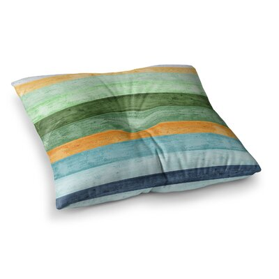Monika Strigel Beach Wood Blue Square Floor Pillow Size: 26 x 26, Color: Blue White
