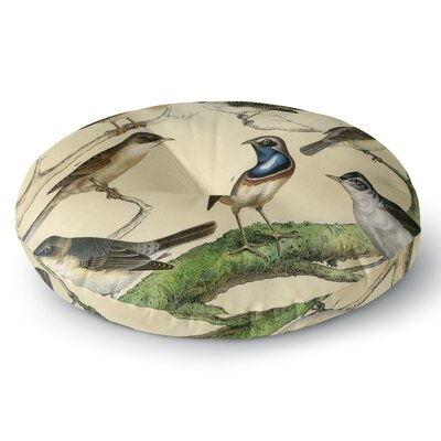 Suzanne Carter Vintage Birds Nature Round Floor Pillow Size: 26 x 26