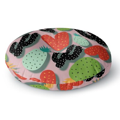 SusanaPaz Cactus and Pineapples Digital Round Floor Pillow Size: 23 x 23