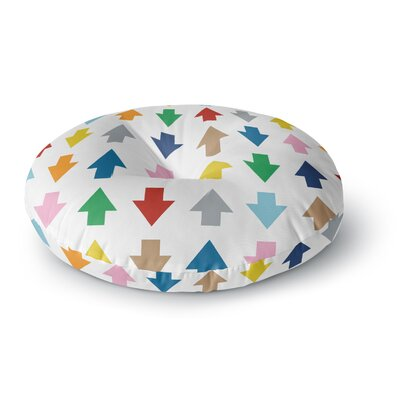 Project M Arrows Up and Down White Round Floor Pillow Size: 23 x 23