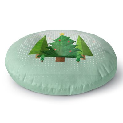 Noonday Design Geometric Christmas Tree Round Floor Pillow Size: 26 x 26