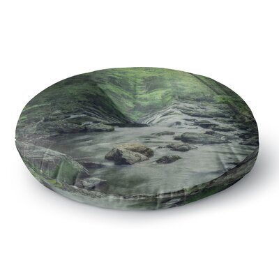 Suzanne Harford Misty Forest Stream Nature Photography Round Floor Pillow Size: 26 x 26