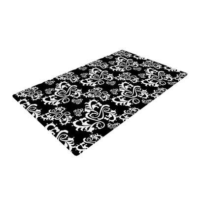 Mydeas Sweetheart Damask Pattern Black/White Area Rug Rug Size: 4 x 6