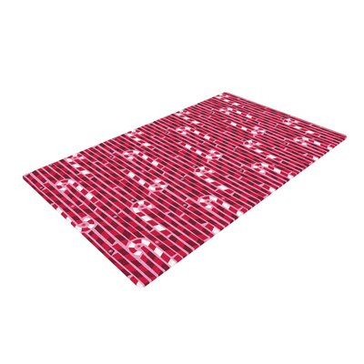 Allison Beilke Candy Cane Lane Pink/Red Area Rug Rug Size: 2 x 3