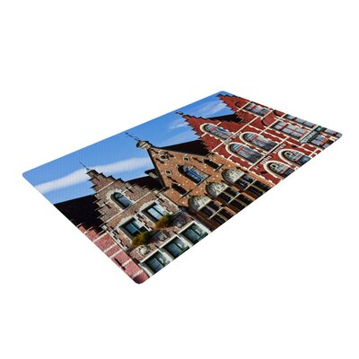 Ann Barnes Inbruges City Street Blue/Brown Area Rug Rug Size: 4 x 6