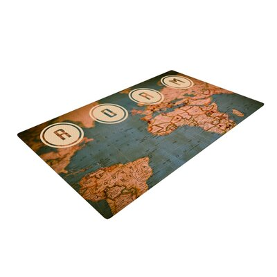 Ann Barnes Roam II World Map Brown/Gray Area Rug Rug Size: 2 x 3
