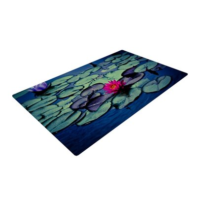 Ann Barnes Twilight Water Lily Blue/Pink Area Rug Rug Size: 4 x 6