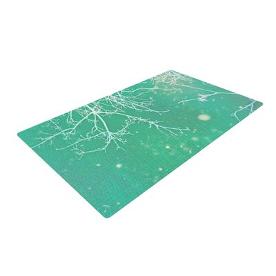 Alison Coxon Branches White/Teal Area Rug Rug Size: 2 x 3