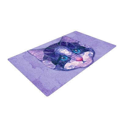 Ancello Cute Kitten Cat Purple Area Rug Rug Size: 2 x 3