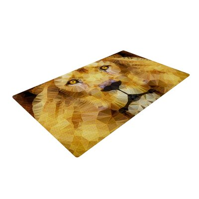 Ancello Lion King Yellow/Brown Area Rug Rug Size: 2 x 3