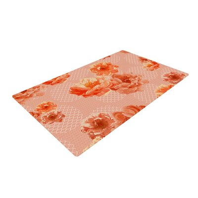 Pellerina Design Lace Peony Floral Orange Area Rug Rug Size: 4 x 6