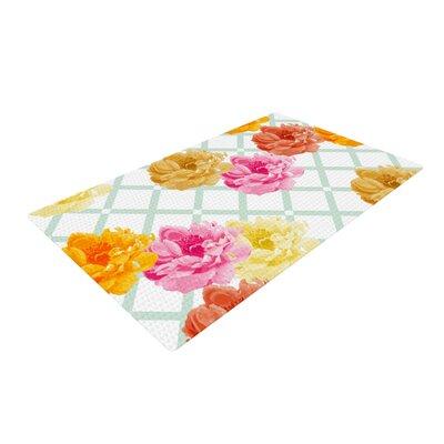 Pellerina Design Trellis Peonies Flowers Yellow Area Rug Rug Size: 4 x 6