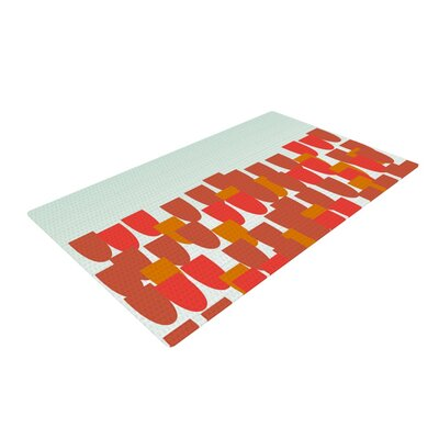 Pellerina Design Sunrise Poppies Red/Aqua Area Rug Rug Size: 2 x 3