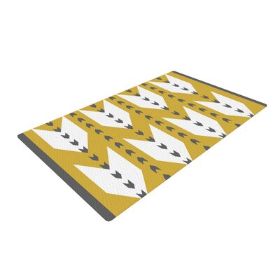 Pellerina Design Golden Aztec Yellow/White Area Rug Rug Size: 2 x 3