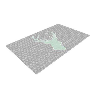 Pellerina Design Winter Deer Gray/Green Area Rug Rug Size: 2 x 3