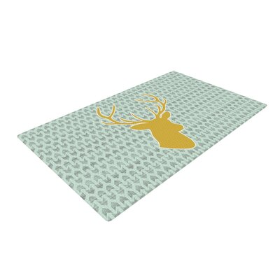 Pellerina Design Golden Deer Yellow/Green Area Rug Rug Size: 2 x 3