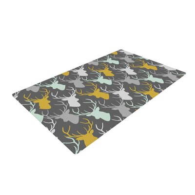 Pellerina Design Scattered Deer Gray Area Rug Rug Size: 2 x 3