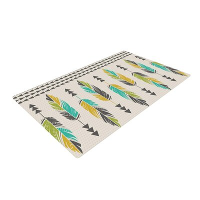 Amanda Lane Painted Feathers Tribal Tan Area Rug Rug Size: 4 x 6
