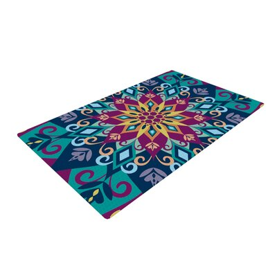 Amanda Lane Blooming Mandala Blue/Purple Area Rug Rug Size: 2 x 3