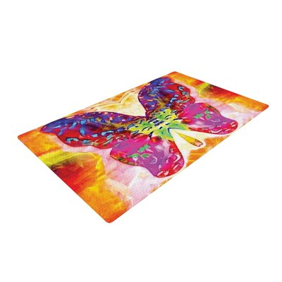 Anne LaBrie Butterfly Spirit Pink/Yellow Area Rug Rug Size: 4 x 6