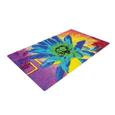 Anne LaBrie Wild Lotus Flower Blue Area Rug Rug Size: 2 x 3