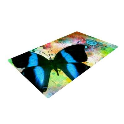 AlyZen Moonshadow Butterfly Blue Area Rug Rug Size: 4 x 6