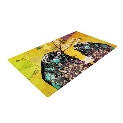 AlyZen Moonshadow Birds Orange/Gold Area Rug Rug Size: 2 x 3