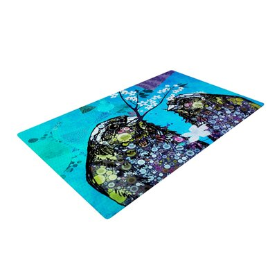 AlyZen Moonshadow Birds Navy/Purple Area Rug  Rug Size: 4 x 6
