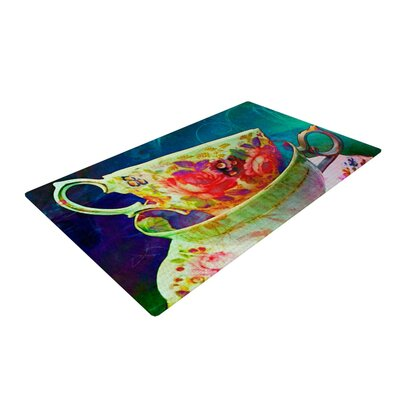 AlyZen Moonshadow Mad Hatters T Party V Yellow/Green Area Rug Rug Size: 4 x 6