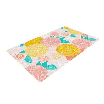 Anneline Sophia Peonies Yellow/Pink Area Rug Rug Size: 4 x 6