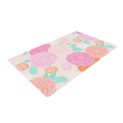 Anneline Sophia Peonies Pink/Teal Area Rug Rug Size: 4 x 6