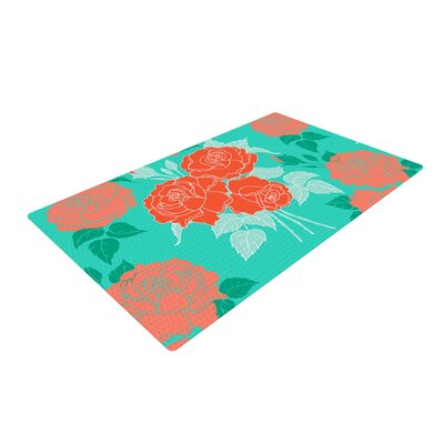 Anneline Sophia Summer Rose Orange/Teal Area Rug Rug Size: 4 x 6