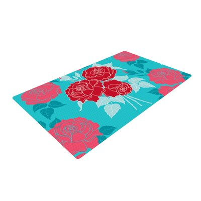 Anneline Sophia Summer Rose Red/Aqua Area Rug Rug Size: 4 x 6