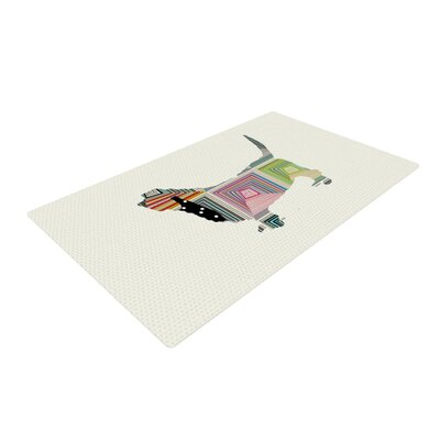 Bri Buckley Basset White/Rainbow Area Rug Rug Size: 4 x 6